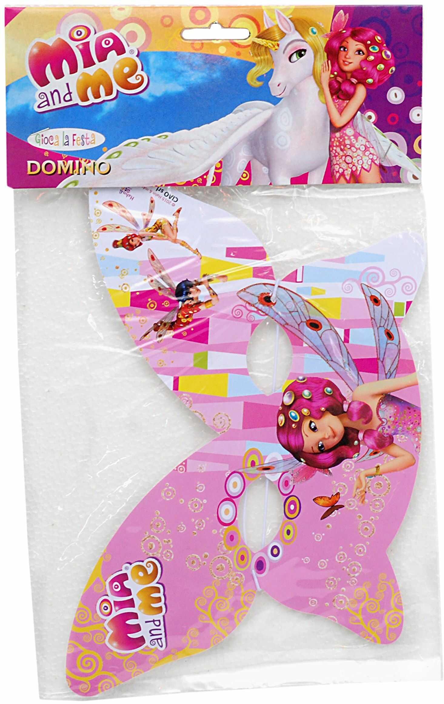Ciao 20037.  maska na oczy Domino motyl Mia and Me, różowa