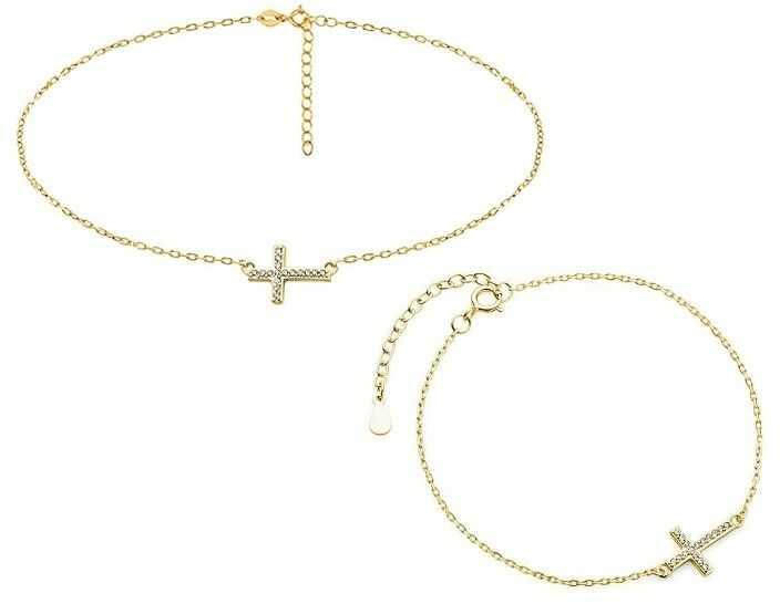 Delikatny pozłacany srebrny komplet celebrytka krzyżyk krzyż cyrkonie srebro 925 Z1664Z_G