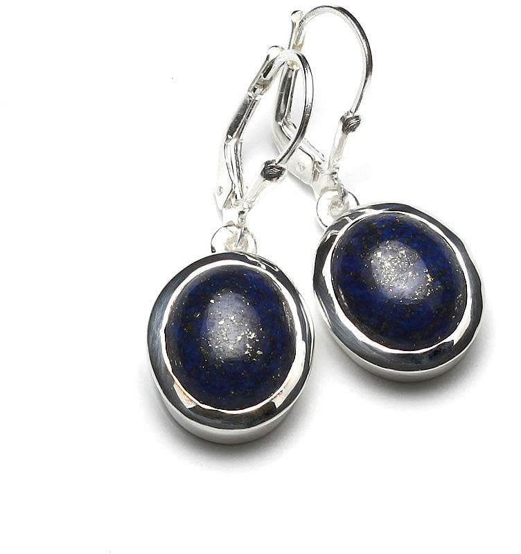 Kuźnia Srebra - Kolczyki srebrne, 33mm, Lapis Lazuli, 7g, model