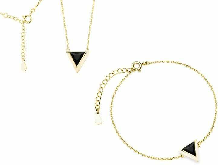 Delikatny pozłacany srebrny komplet celebrytka trójkąt triangle czarne cyrkonie srebro 925 Z1684Z_G