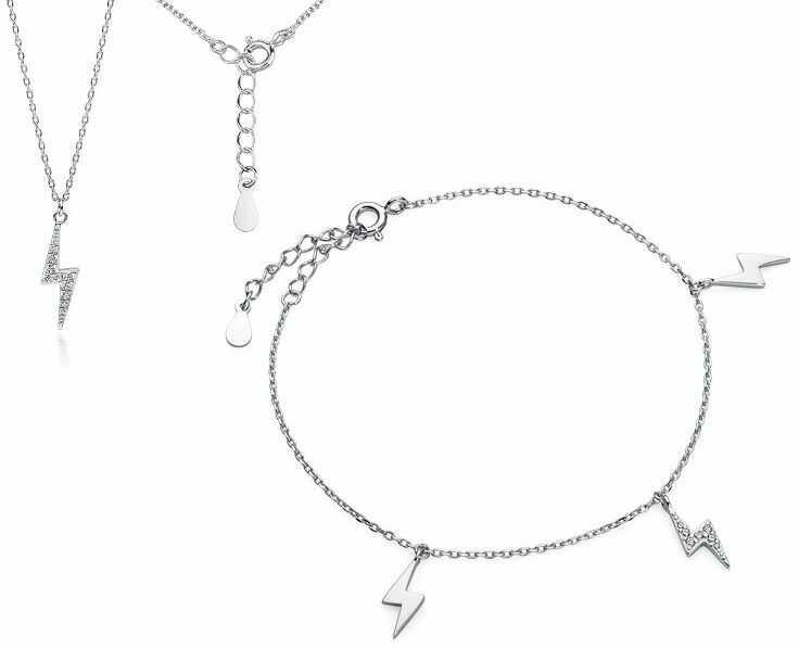 Delikatny rodowany srebrny komplet celebrytka piorun błyskawica białe cyrkonie srebro 925 Z1702Z