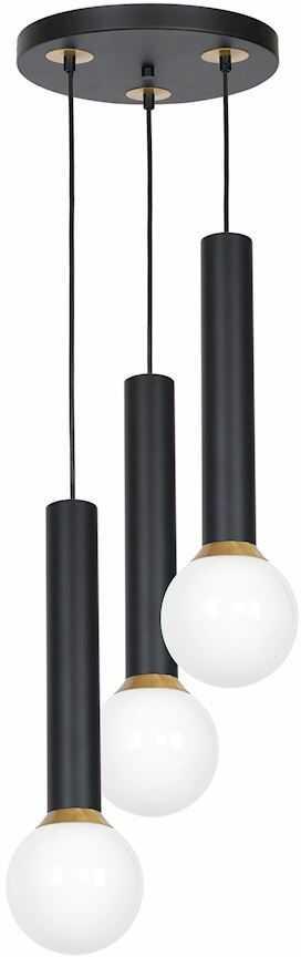 Milagro AURIS BLACK MLP4837 lampa wisząca metalowa szklany klosz czerń / mosiądz 3xE14 30cm