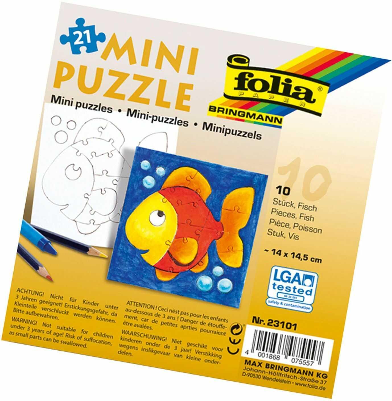 folia 23101 - mini puzzle ryba, ok. 14 x 14,5 cm, 21 części, 10 sztuk, białe - dopiero potem malowanie, dla dzieci, chłopców i dziewczynek
