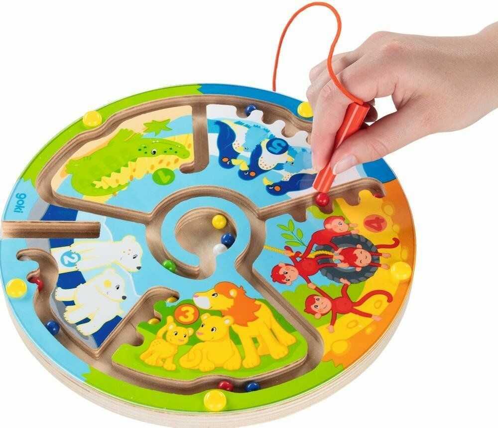 Labirynt magnetyczny dla dzieci Poznajemy liczby ze zwierzętami 58716-Goki, zabawka drewniana
