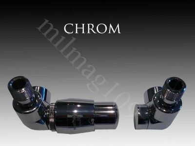Zestaw zaworów grzejnikowych termostatycznych LUX lewy CHROM