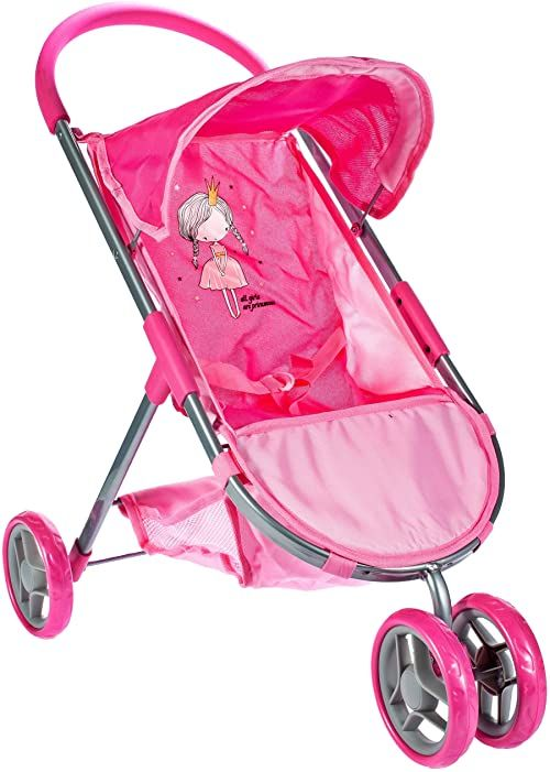 Malis 5901924217572 Wózek Spacerowy Little Princess Pink ,Różowy
