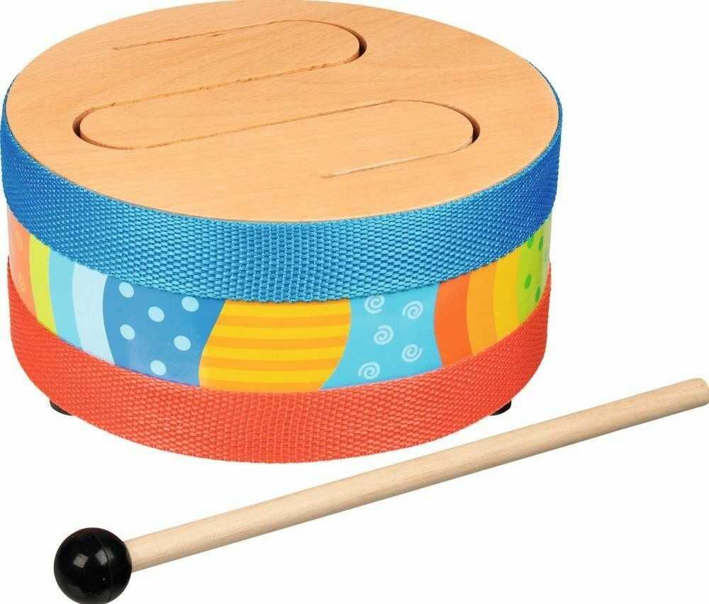 Drewniany bębenek Barwne dźwięki 61888-Goki, zabawki muzyczne dzieci