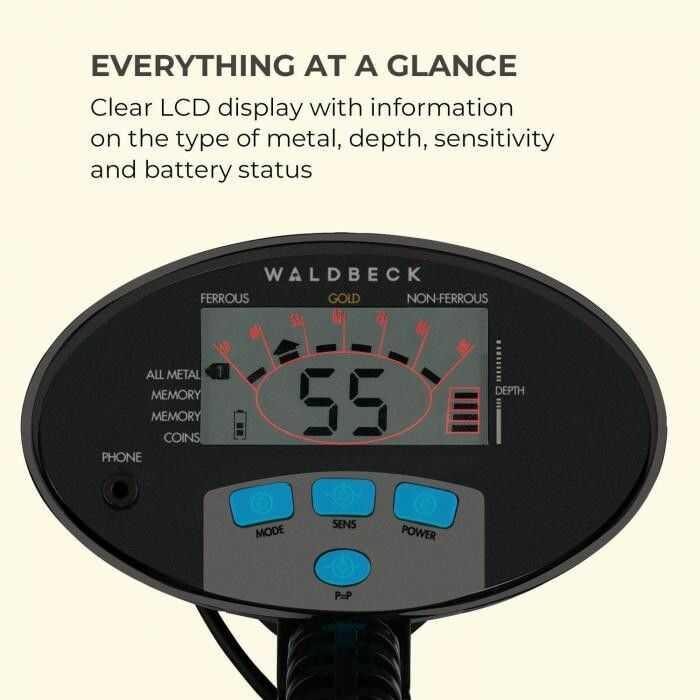 Waldbeck Yukon Detektor metali 4 tryby funkcja Pinpoint, czarnyWaldbeck