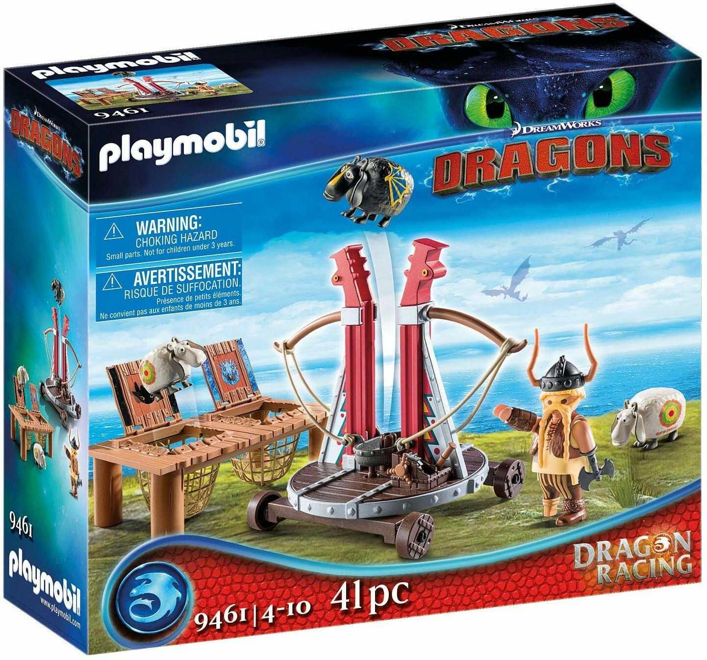 PLAYMOBIL DreamWorks Dragons 9461 Pyskacz Gbur z katapultą do owiec, od 4 lat
