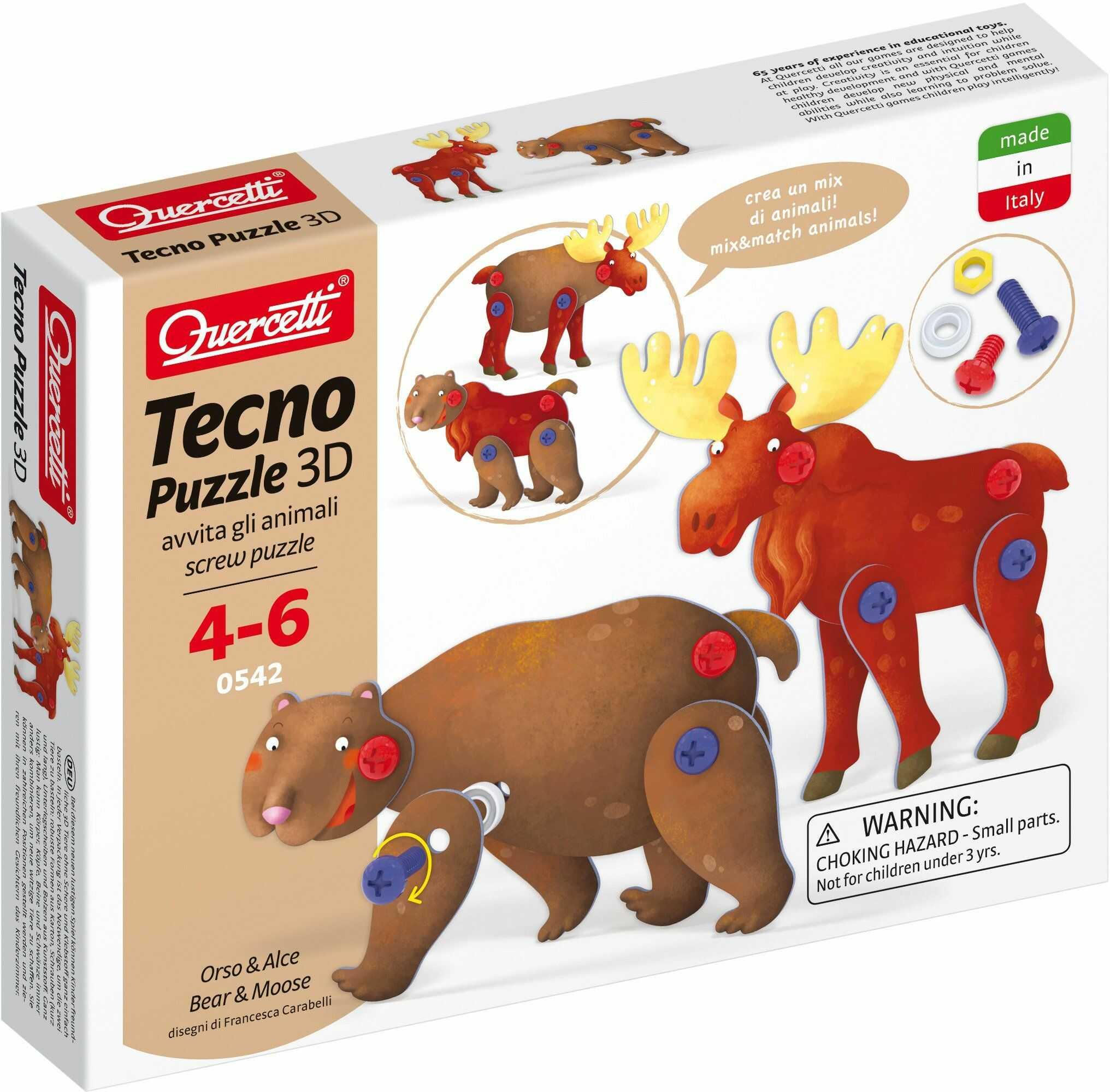 Quercetti 0542  Tecno Puzzle 3D niedźwiedź & renifer
