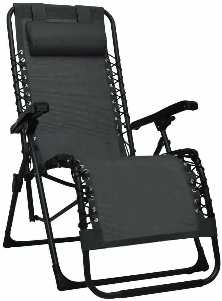 Czarne składane krzesło tarasowe  Rovan