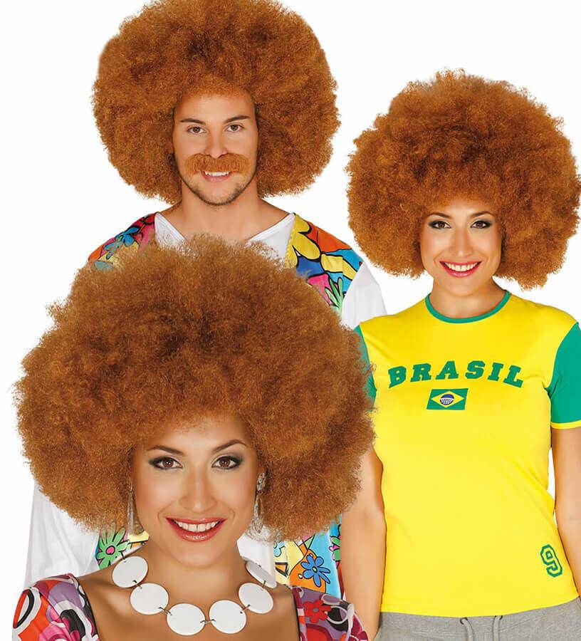Peruka afro brązowa - 1 szt.