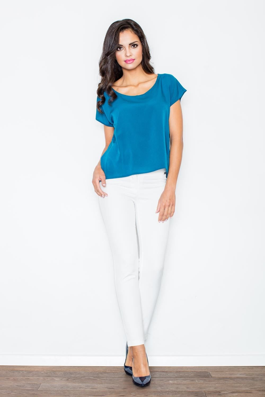 Niebieska bluzka z krótkim rękawem z wycięciem z tyłu