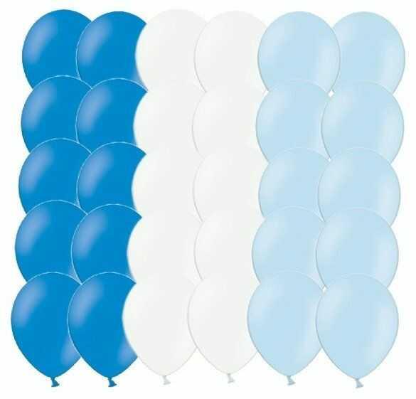 Zestaw balonów niebieskie i białe 30 sztuk ZB1