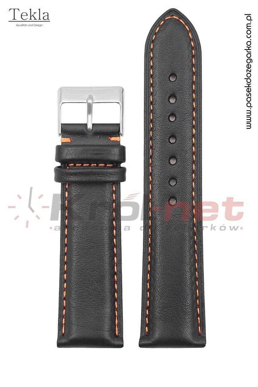 Pasek TK116/POM/18 - czarny, pomarańczowe nici