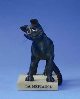 """FIGURKA - Czarny Kot LA MÉFIANCE"""" (Nieufny) - mała CD16"""