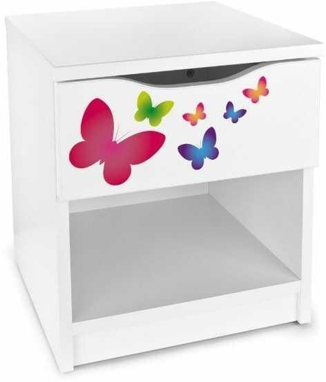 Drewniana biała Szafka nocna Kolorowe motylki, meble do pokoju dziecka