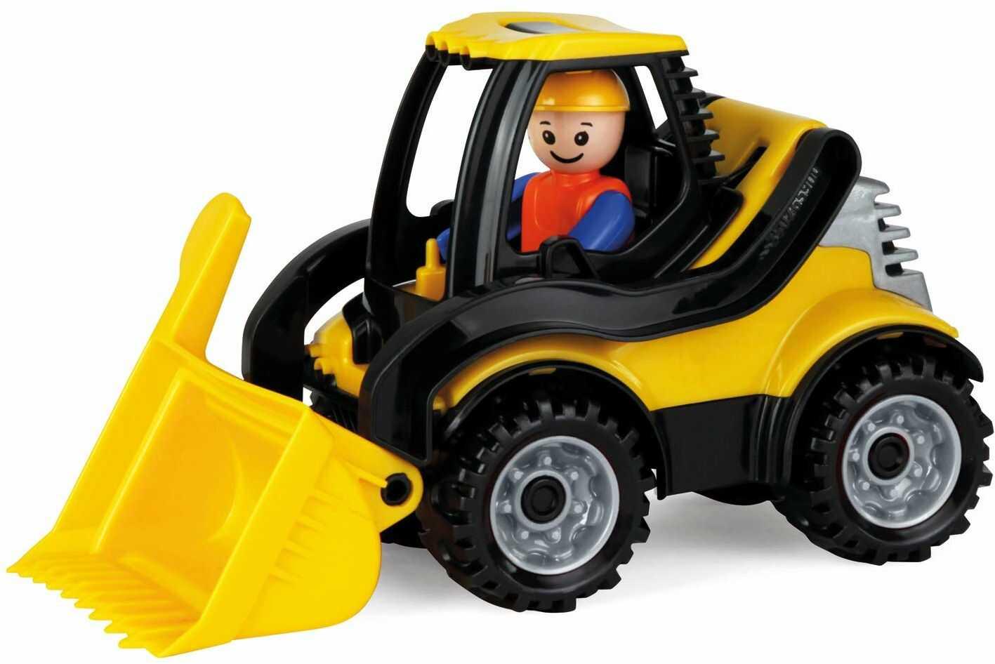 Lena 01622 Truckies ładowarka, stabilny pojazd na plac budowy ok. 22 cm, mała zabawka, ładowarka koła dla dzieci od 2 lat, wytrzymała zabawka ładowarka do piaskownicy, na plażę i do pokoju dziecięcego
