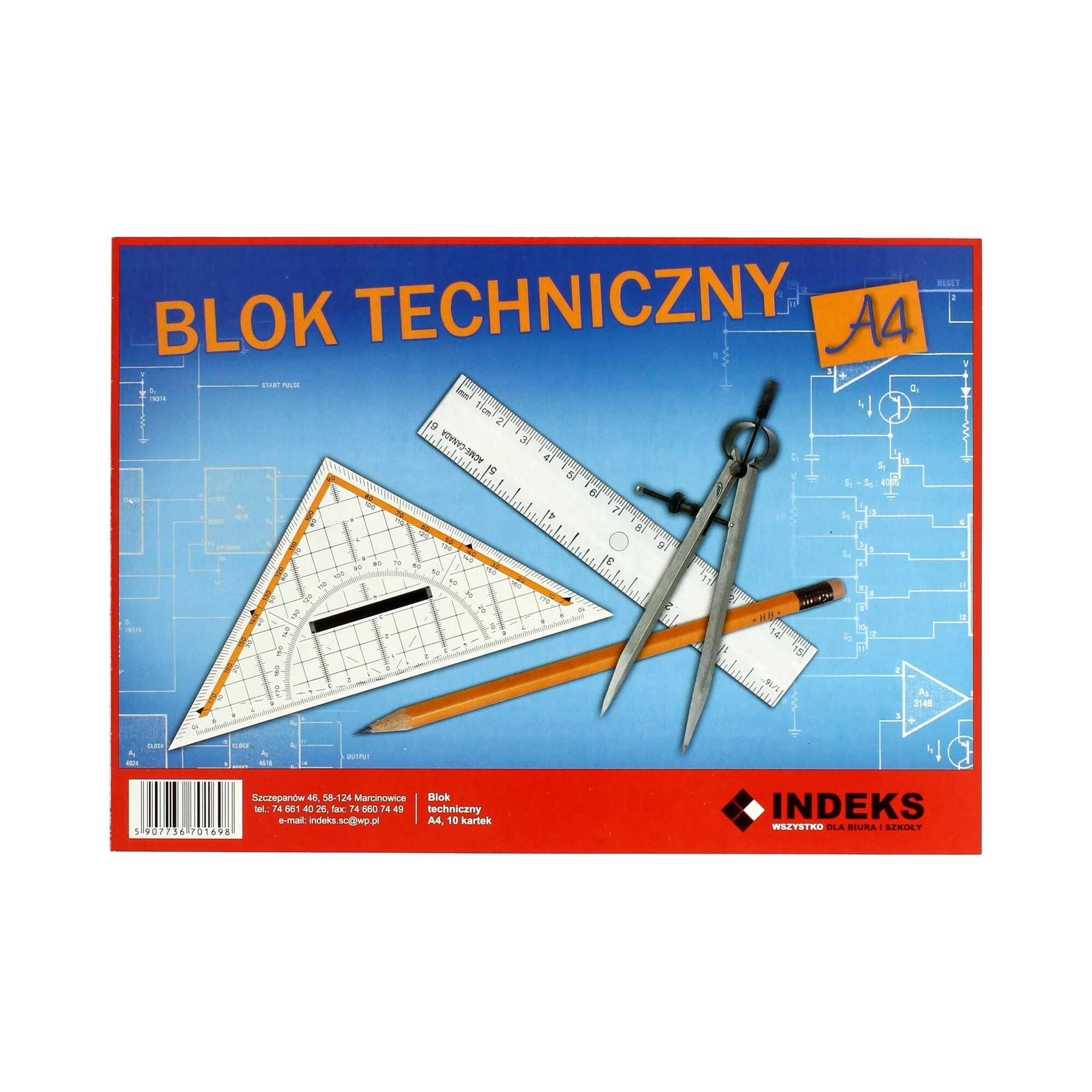 Blok techniczny A4/10 biały Indeks