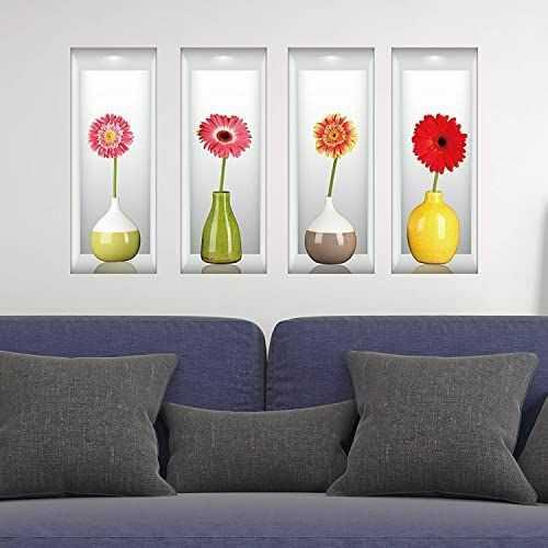 WALPLUS 3D naklejki ścienne z ekspozycją wazonów zarazkowych, winyl, wielokolorowy, 60 x 10 x 10 cm