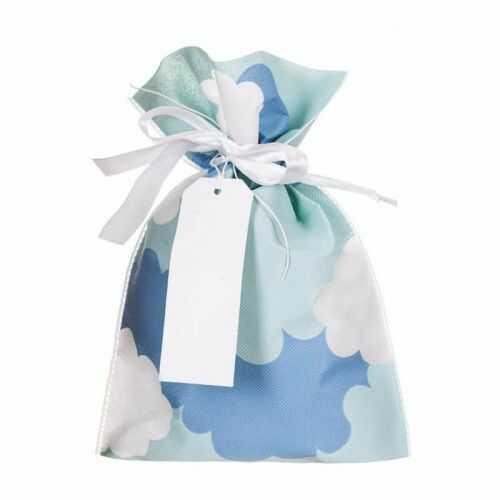 Torebka prezentowa, woreczek z materiału, Niebieska w Chmurki 20x30 cm