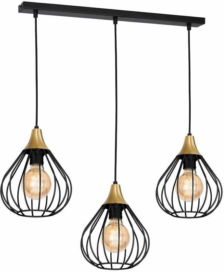 Milagro KANE BLACK MLP4795 lampa wisząca ażurowe klosze industrialny złoty+czarny 3xE27 60cm