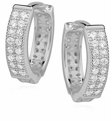 Eleganckie rodowane srebrne kolczyki kółka z cyrkoniami srebro 925 Z0962