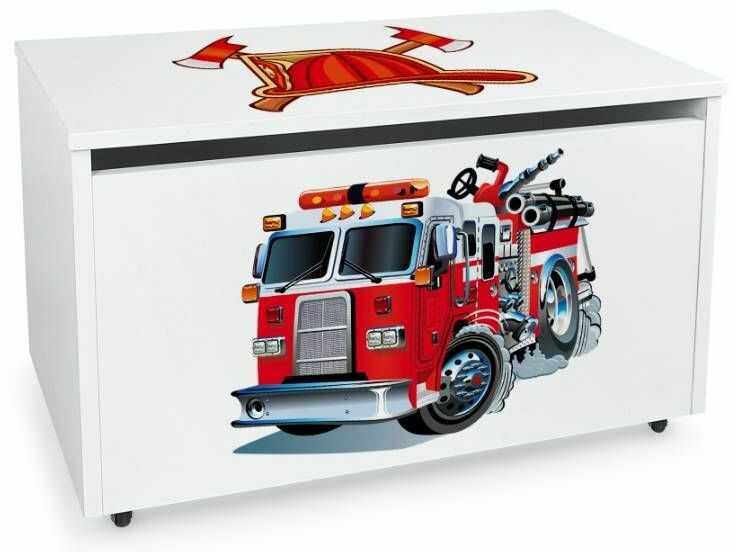 Drewniana skrzynia na zabawki i ławka z kółkami jezdnymi XXL White 2w1 Straż Pożarna