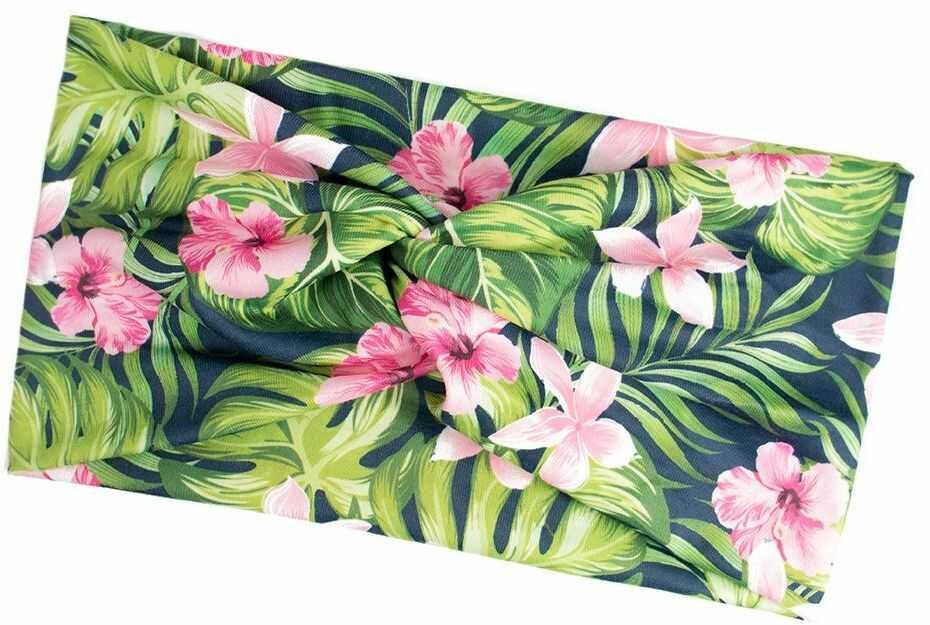 Opaska do włosów szeroka elastyczna turban kwiaty
