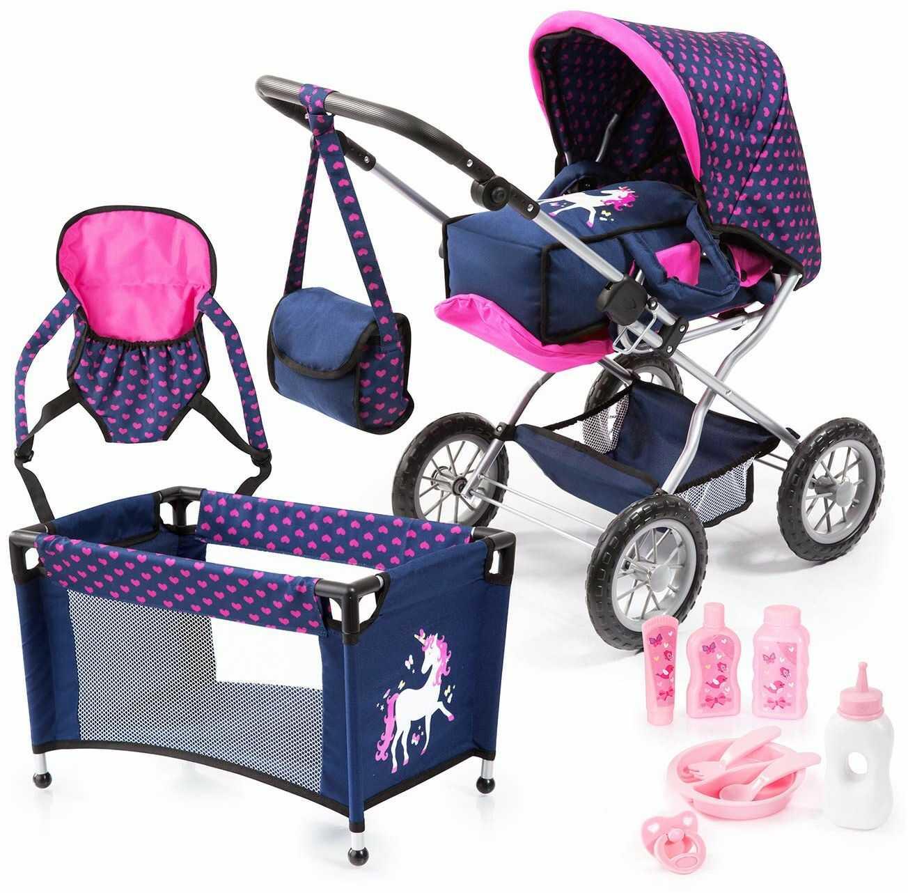 Bayer Design 15054AB wózek dla lalek Combi Grande zestaw z torbą, nosidełkiem, wózkiem transportowym, łóżkiem podróżnym, akcesoria dla lalek, niebieski różowy jednorożec