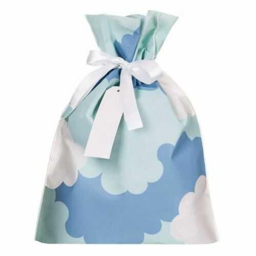 Torebka prezentowa, woreczek z materiału, Niebieska w Chmurki 30x45 cm