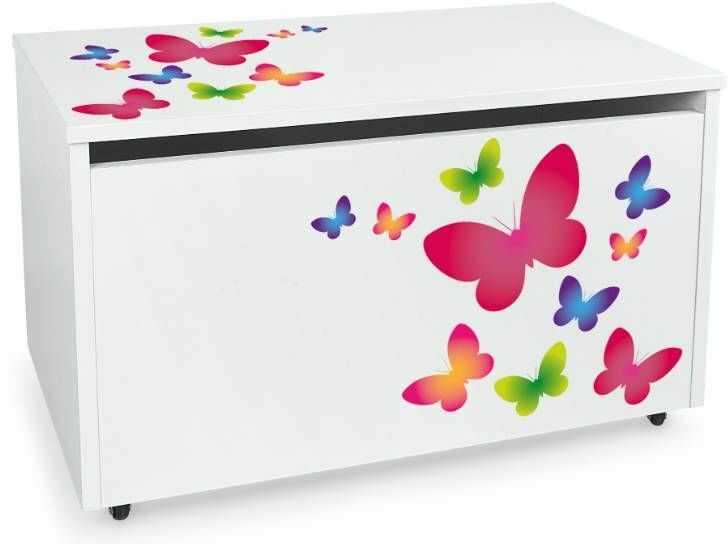 Drewniana skrzynia na zabawki i ławka z kółkami jezdnymi XXL White 2w1 Kolorowe motylki