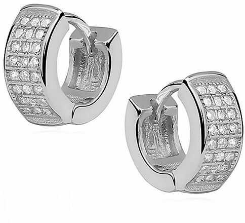 Eleganckie rodowane srebrne kolczyki kółka z cyrkoniami srebro 925 Z0965