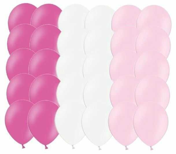 Zestaw balonów różowe i białe 30 sztuk ZB2