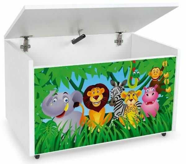 Drewniana skrzynia na zabawki i ławka z kółkami jezdnymi XXL White 2w1 Zwierzęta dżungli