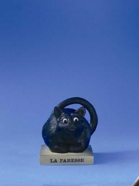 """FIGURKA - Czarny Kot """"La Paresse"""" (Leniwy) - duża CD05"""