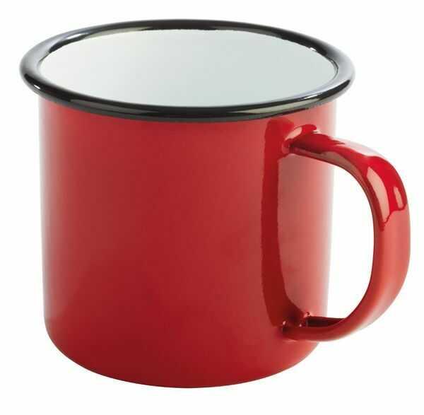 Kubek emaliowany czerwono-czarny 0,35L
