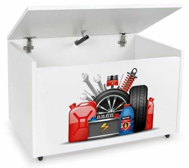 Drewniana skrzynia na zabawki i ławka z kółkami jezdnymi XXL White 2w1 Warsztat samochodowy