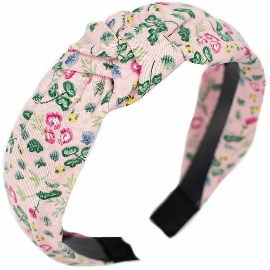 Opaska do włosów różowa kwiaty pin up turban węzeł