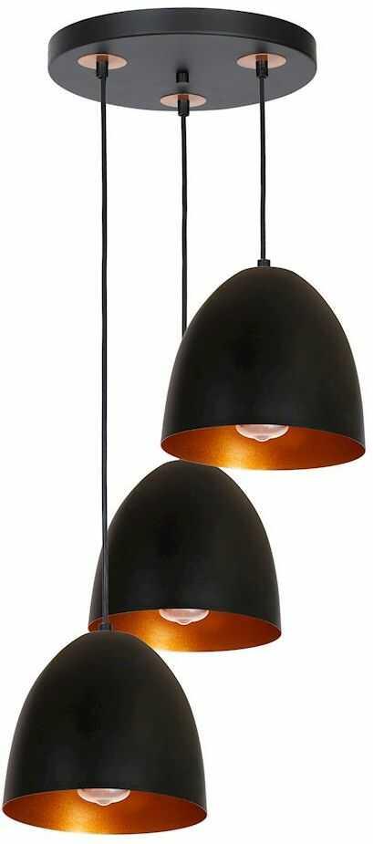 Milagro VEGAS MLP5589 lampa wisząca klosze klasyczne owalne czarne wnętrze miedziane 3xE27 30cm