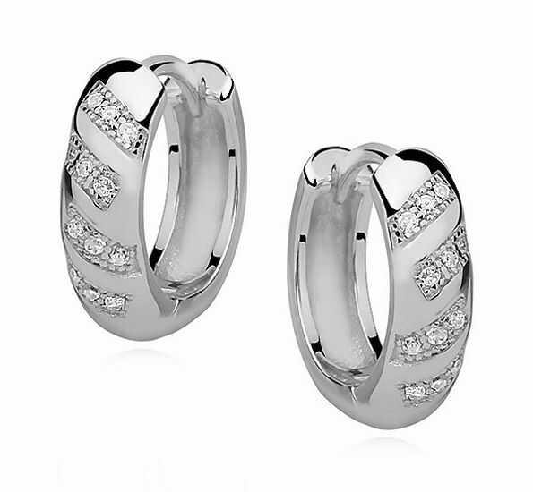 Eleganckie rodowane srebrne kolczyki kółka z cyrkoniami srebro 925 Z0971