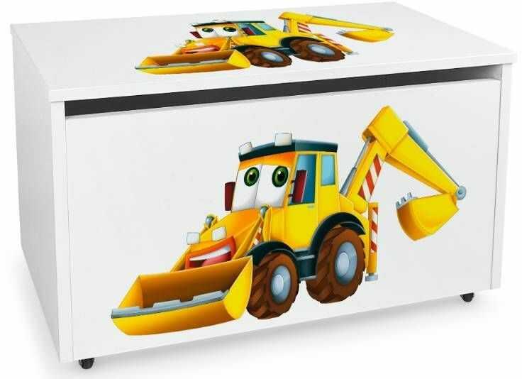 Drewniana skrzynia na zabawki i ławka z kółkami jezdnymi XXL White 2w1 Pracowita koparka