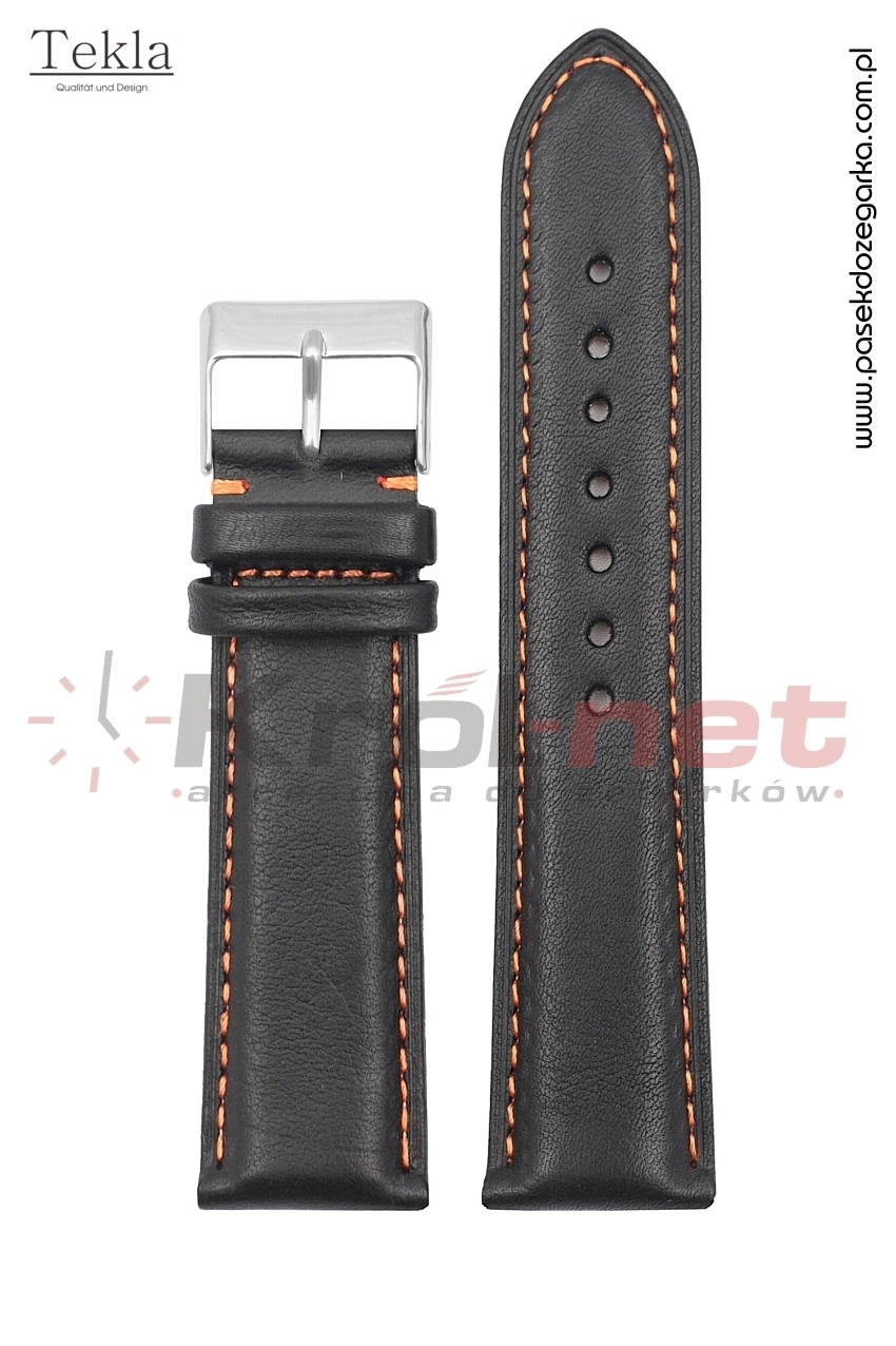 Pasek TK116/POM/22 - czarny, pomarańczowe nici