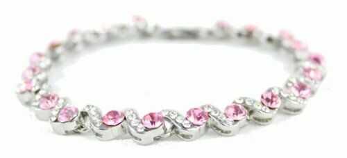 Bransoletka magnetyczna z różowymi i białymi kamykami, 23 cm