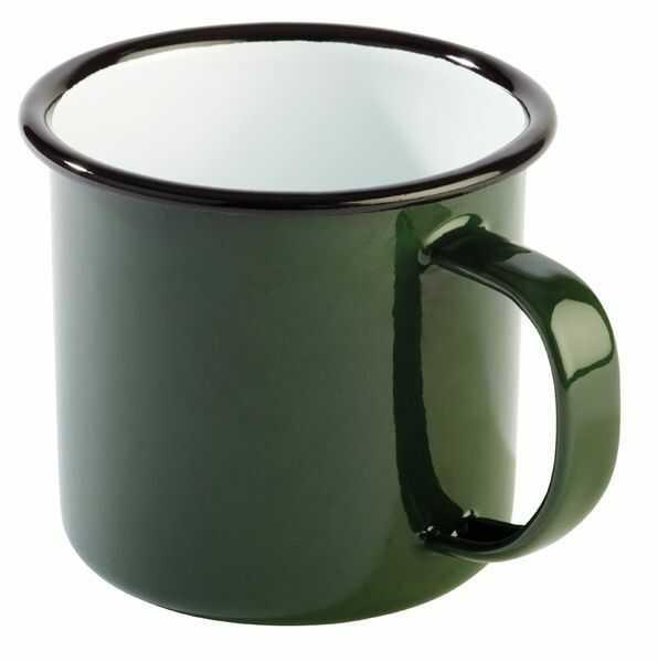 Kubek emaliowany zielono-czarny 0,35L