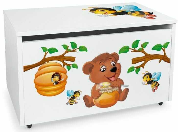 Drewniana skrzynia na zabawki i ławka z kółkami jezdnymi XXL White 2w1 Miś Kubuś i pszczółki