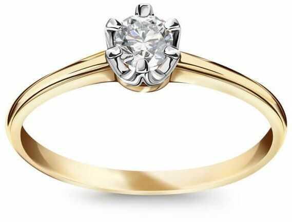 Staviori pierścionek złoty. 1 diament, szlif brylantowy, masa 0,18 ct., barwa h, czystość si2. żółte złoto 0,585.