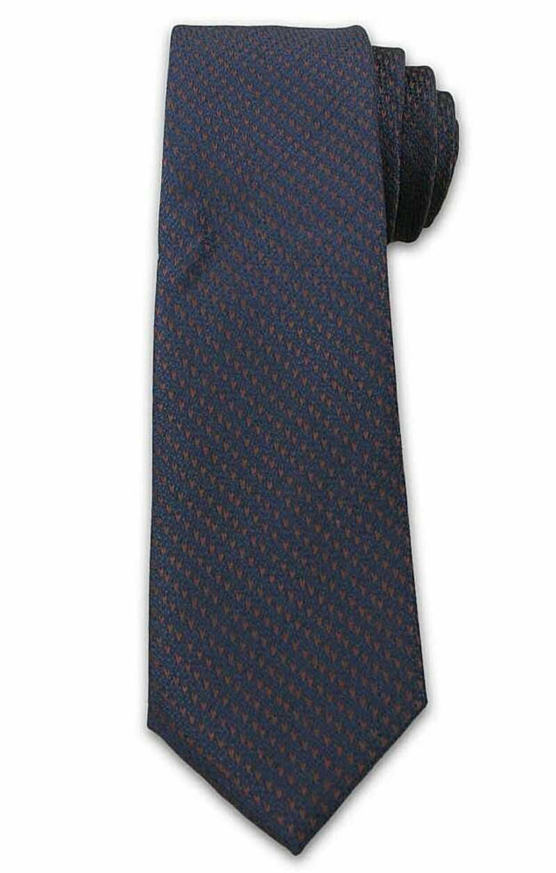 Męski Stylowy Krawat z Brązowym Rzucikiem - Chattier- 6,7cm - Granatowy KRCH1007
