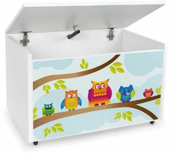 Drewniana skrzynia na zabawki i ławka z kółkami jezdnymi XXL White 2w1 Kolorowe sowy