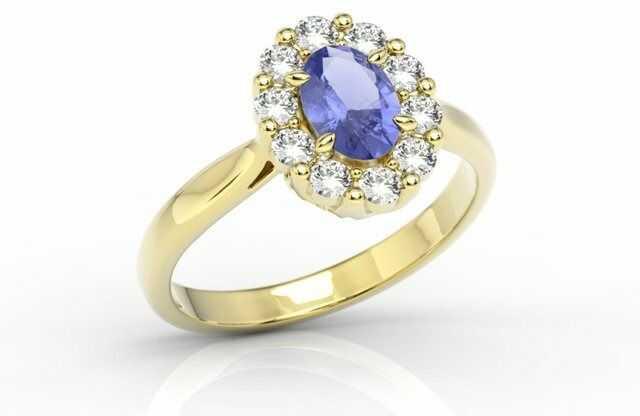 Pierścionek zaręczynowy z tanzanitem i diamentami bp-57z